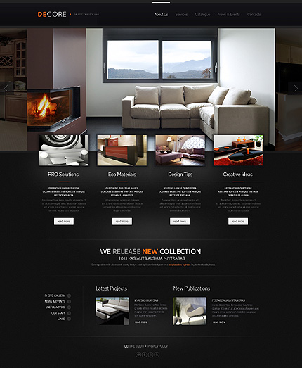 Black Interior Design Website Template By Delta Bootstrap Interesting Interior Design Web Templates
