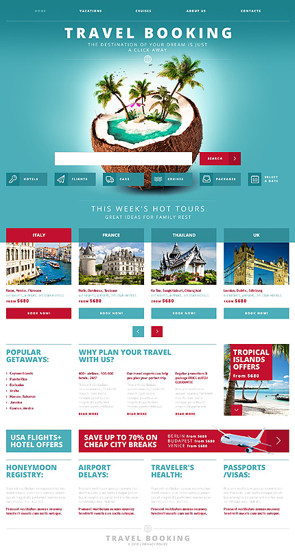 Travel Html Templates White & Cyan Travel Agency Website Template by Glenn ...