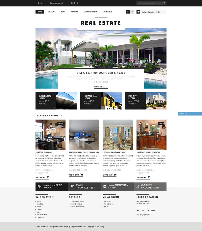 Home Store Website: Bootstrap Real Estate Agency Responsive Shopify Theme