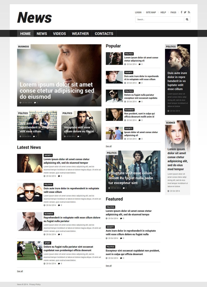 Newspaper Bootstrap Template Leoncapers