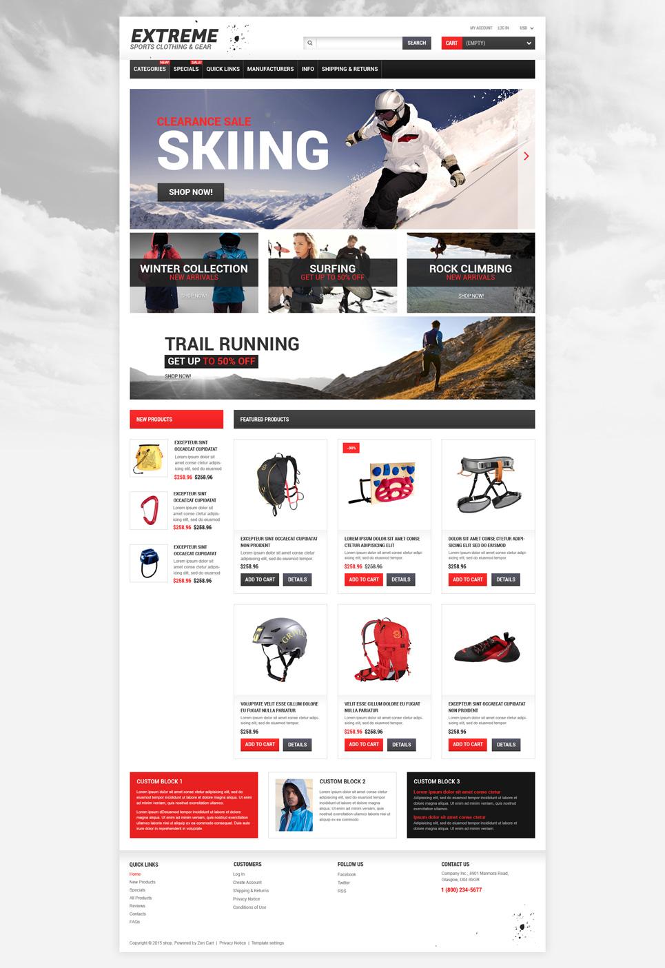 Extreme Sports Responsive ZenCart Template | Templates - Buy Website ...