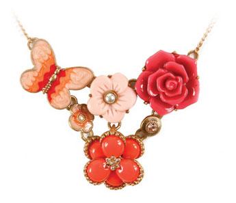 สร้อยคอ-วินเทจชุดดอกไม้ผีเสื้อชมพู-DEVA-DEVA-VTNN084