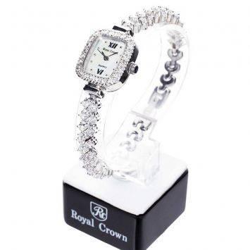 นาฬิกาข้อมือผู้หญิงประดับเพชร Royal Crown รุ่น 1514-B12 สายประดับเพชร สีเงิน